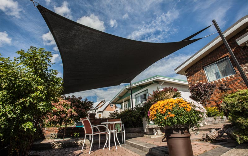 Our Square and Triangle Shade Sails create a beautiful complement to a patio