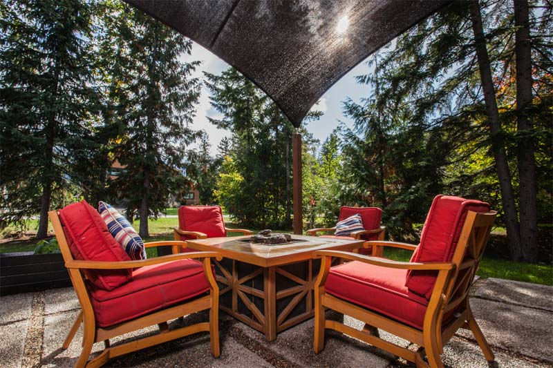 Square Shade Sails create an enclosed and intimate area