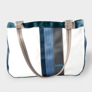 White and Teal Tote Front