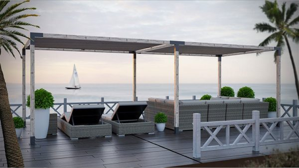 Double Pergola with Shade-Sail