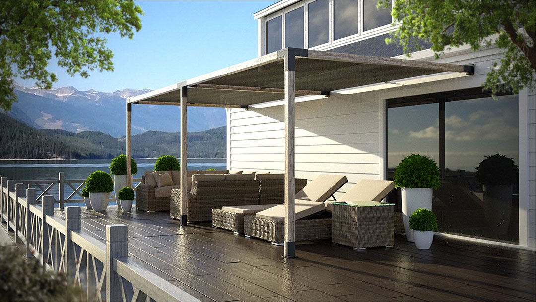 Double Side Pergola with Shade-Sail