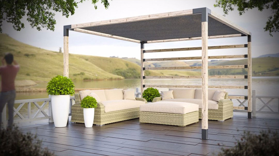 Pergola with Side Wall or Railing